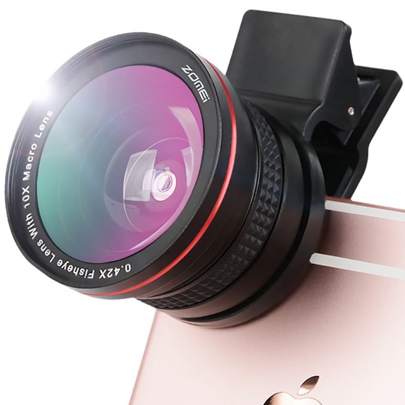 ZOMEi 37MM Universal Lens Camera Phone Lens Kit 0.45x Wide Angle Lens + Macro Lens + 0.42X Fisheye Lens for iPhone 6/6s plus/5s цена