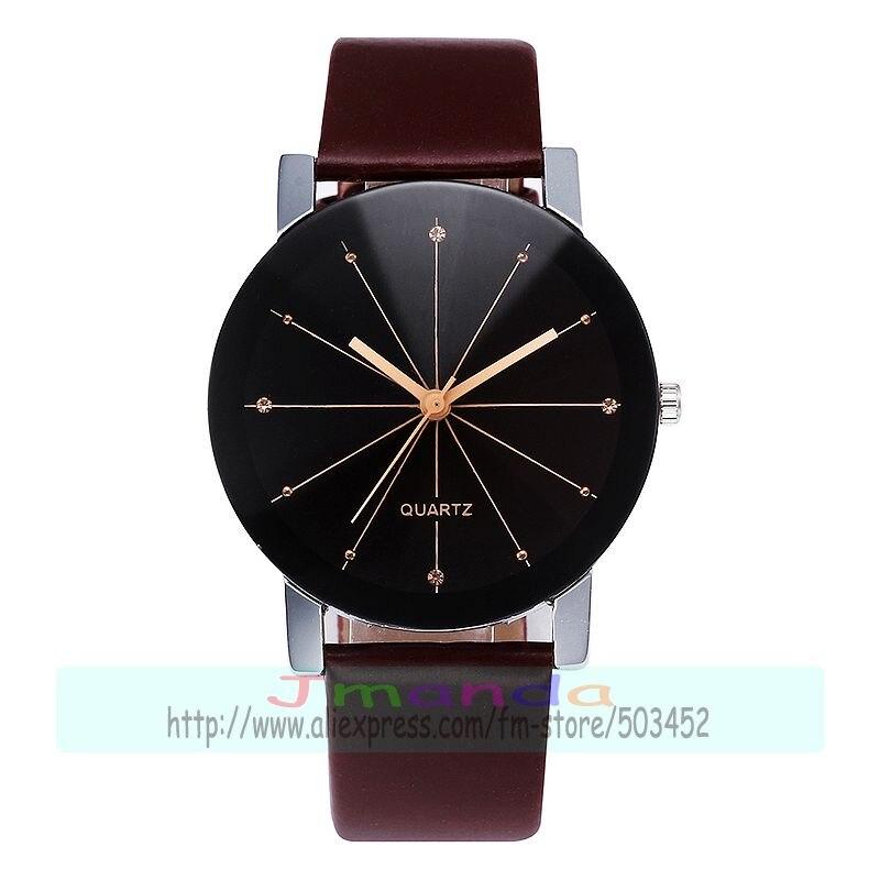 100pcs lot HR Meridian dial leather watch no logo black strap lower watch wrap quartz casual