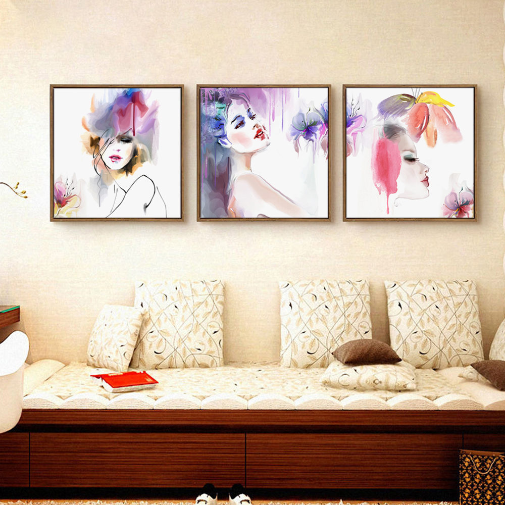popular wall painting mural buy cheap wall painting mural lots fashion woman watercolor art painting canvas print poster mural painting wall art pictures for living room