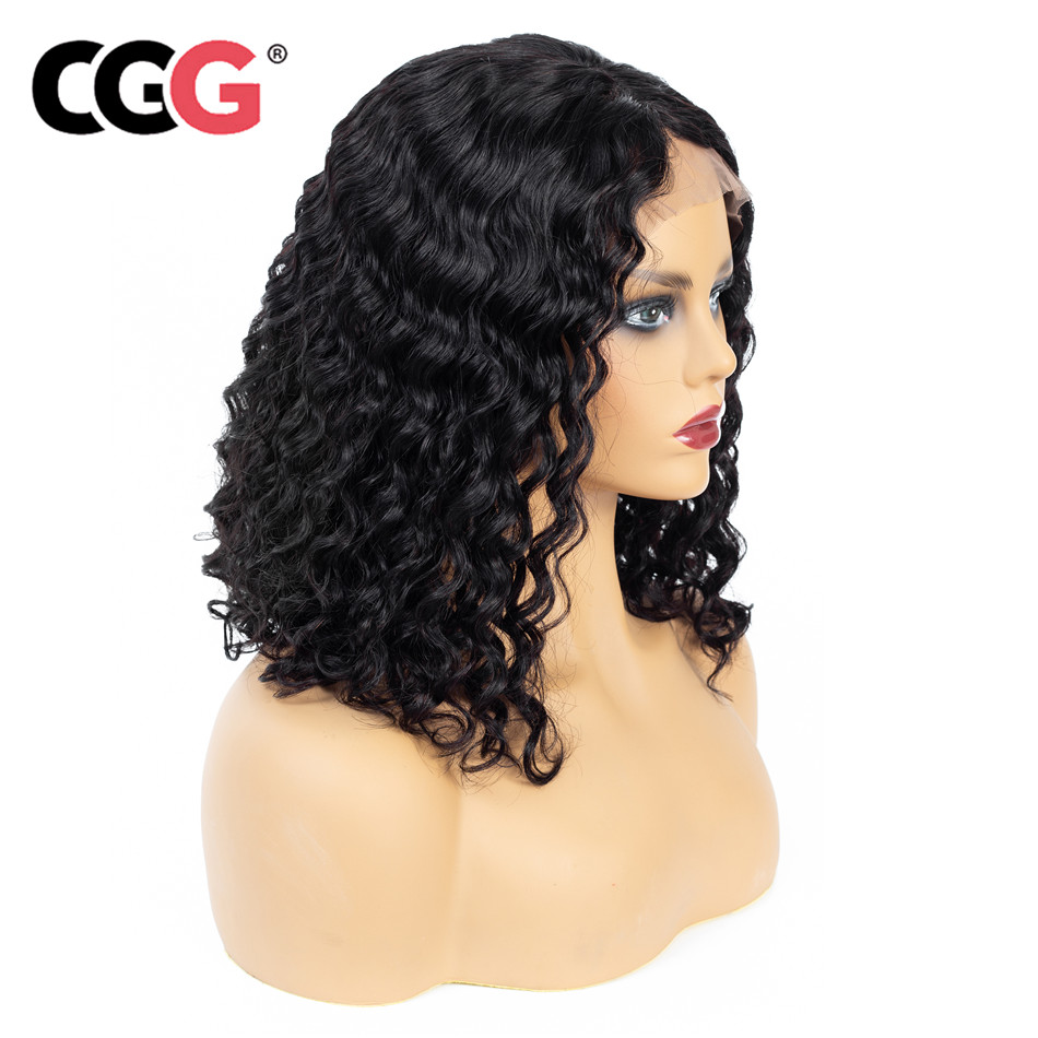 CGG Malaysian Human Hair Wigs Natural Color Deep Wave Lace Front Wigs Baby Hair 13 4