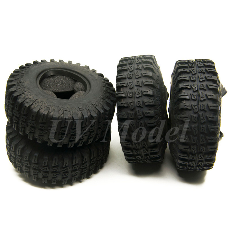 4Pcs RC 1:10 Rock Crawler Rubber Wheels Tire 1.9 Inch Wheel OD Tire 114mm Wheel Tyre For RC4WD Axial SCX10 CC01 RC Wheel Rims 1 9inch beadlock wheel rims 1 10 rock crawler car alloy wheels hub for rc crawler car traxxas axial scx10 cc01 rc4wd