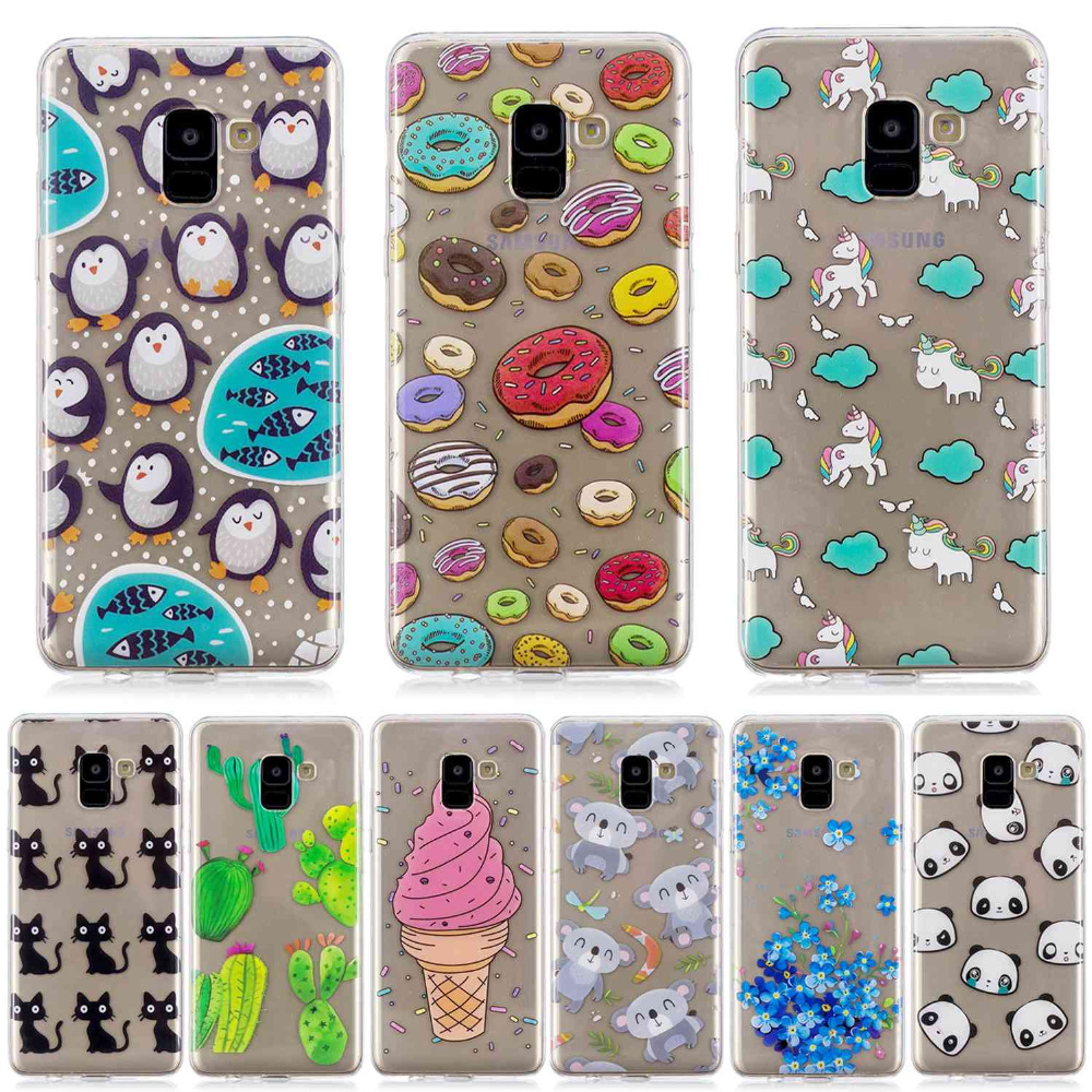 cat penguin Doughnut cactus panda flowers Icecream cartoon Painted phone case For Samsung A8 2018 high Quality TPU cover shell