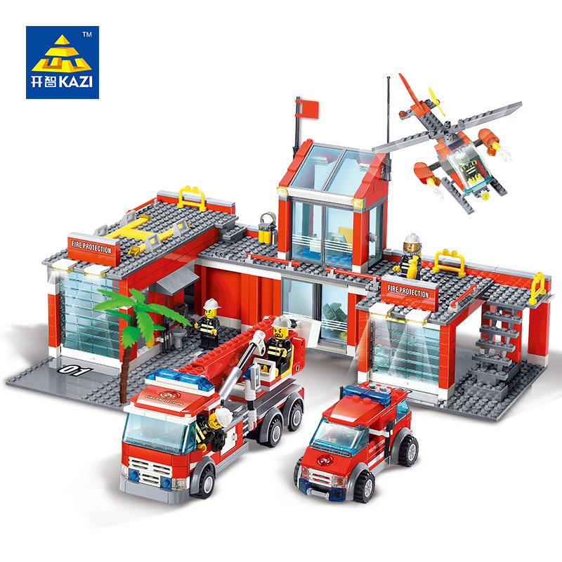 KAZI Fire Department Station Fire Truck Helicopter Building Blocks Toy Bricks Model Brinquedos Toys for Kids 6+Ages 774pcs 8051