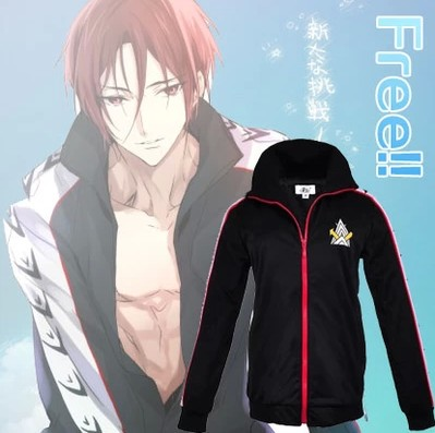 Free! Iwatobi Club Rin Matsuoka Deluxe Edition Uniform Jacket with Samezuka Academy Embroidery Logo Cosplay Costume