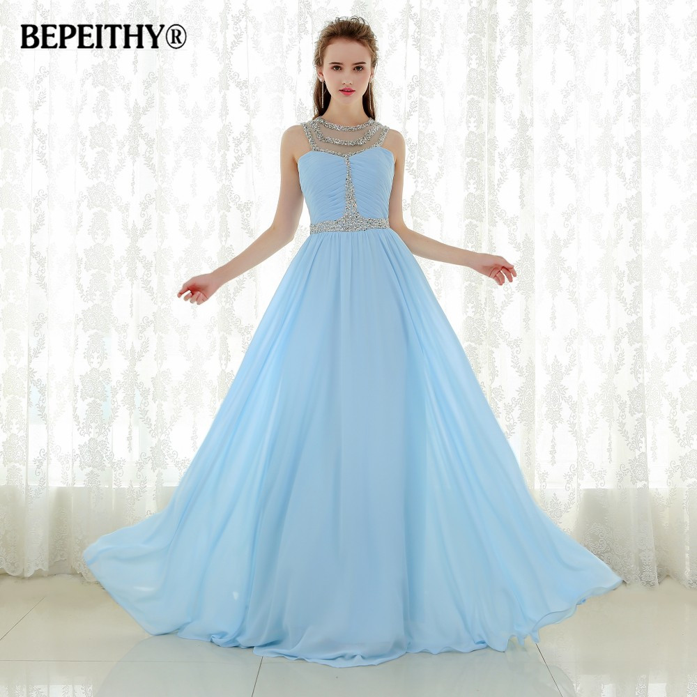 Robe De Soiree Blue Chiffon Sexy Sheer Neckline Vintage Long   Prom     Dress   Party   Dresses   Vestido Longo Beaded Evening Gowns 2019