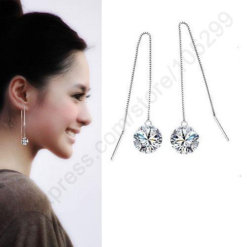 Jei 8mm More Colors Genuine Fine 925 Sterling Silver Jewellery Ear Thread Cubic Zirconia Piercing Earrings