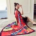 Hipster marca diseñador bufanda de seda Protector Solar mujeres foulard chales de pashmina estilo Wraps primavera verano otoño señora bufandas bufandas