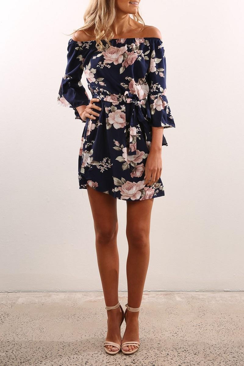 ELSVIOS Sexy Off Shoulder Slash Neck Office Dress 2017 Summer Floral Print Beach Dress Casual Flare Sleeve Women Dress Vestidos 4