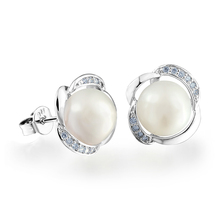 DORMITH womens 8mm natural freshwater pearl stud earrings 925 silver plated jewelry