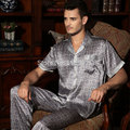 Male Silk Sleepwear MEN Short-sleeve 100% Mulberry Silk Summer Pajama Sets Silk Print Lounge L/XL/XXL Free Shipping