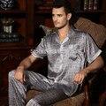 Ropa de Dormir De Seda masculina de LOS HOMBRES de manga Corta 100% Pijama de Seda de Mora Del Verano de Seda de Impresión Salón L/XL/XXL Envío Libre