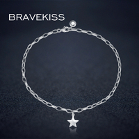 BRAVEKISS 925 Sterling Silver Anklets For Women Food Chain Best Lady Beach Girl Simple Heart Ankle