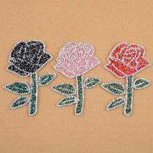 Flowers Rhinestone  Applique Iron-On Patches For Clothes Bag Cap Fashion Sticker DIY Craft Repair Decoration