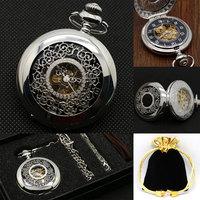 Silver Mechanical Pocket Watch Hand wind Hollow Half Hunter Arabic Numerals Analog Steampunk Skeleton with Keychain Pocket Set