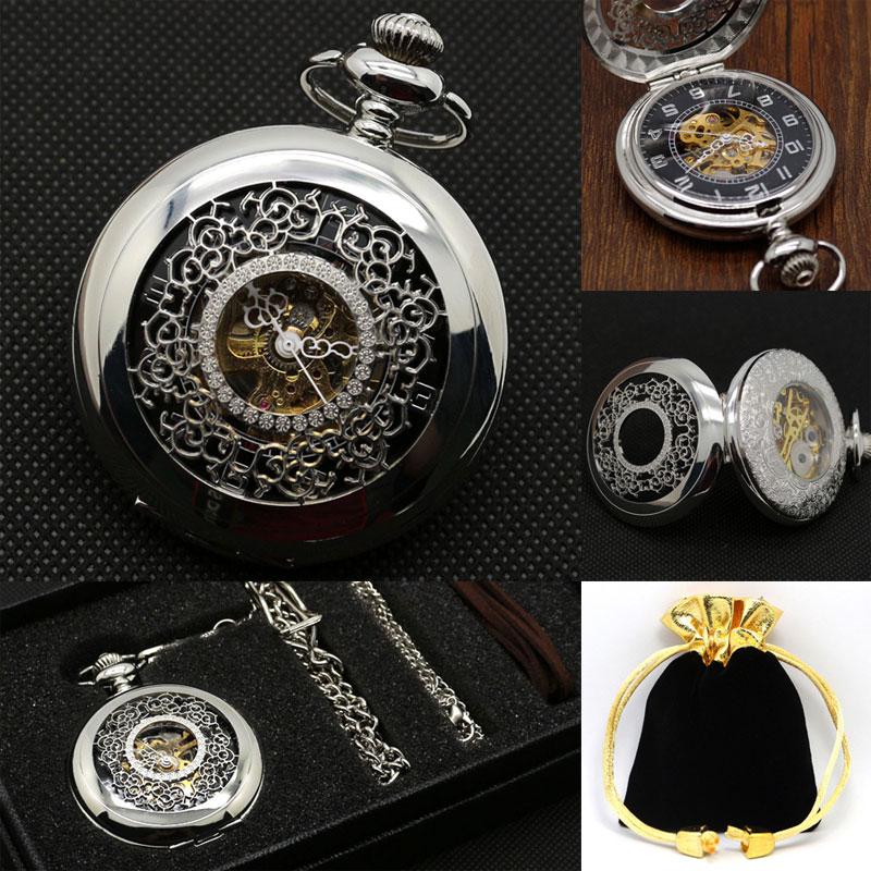 Silver Mechanical Pocket Watch Hand-wind Hollow Half Hunter Arabic Numerals Analog Steampunk Skeleton With Keychain Pocket Set