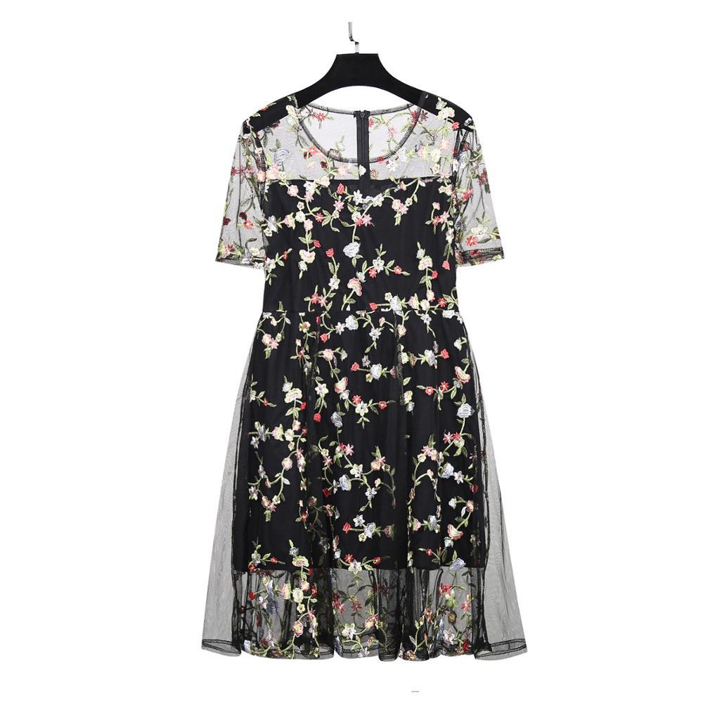 230lb Ženy Plus Velikost Vyšívací Party Šaty Dráha Květinový - Dámské oblečení