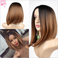 Hot Selling Fashion Straight Ombre Short Bob Synthetic Hair Wigs Glueless Heat Resistant Hair Wigs Two Tone Hair Wigs