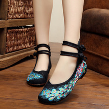 Bright Peacock Embroidery Women Shoes Mary Jane Flat Heel Denim Flats with Soft Sole Women Dance Casual Shoes SMYXHX-D0118
