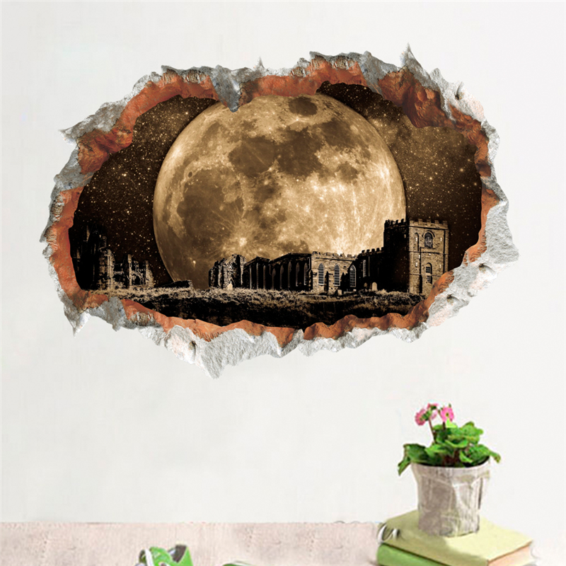 3d vivid hole outer space wall stickers home decor living room science dream landscape decals pvc mural art diy posters