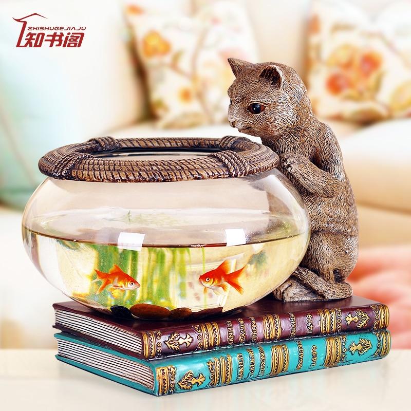 European style aquarium crafts living room TV cabinet Home ...