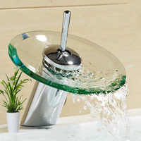 LED Waterfall Glass Faucet Single Handle 12 Chrome Glass Waterfall Bathroom Vanity Faucet Vessel Sink Water Filter
