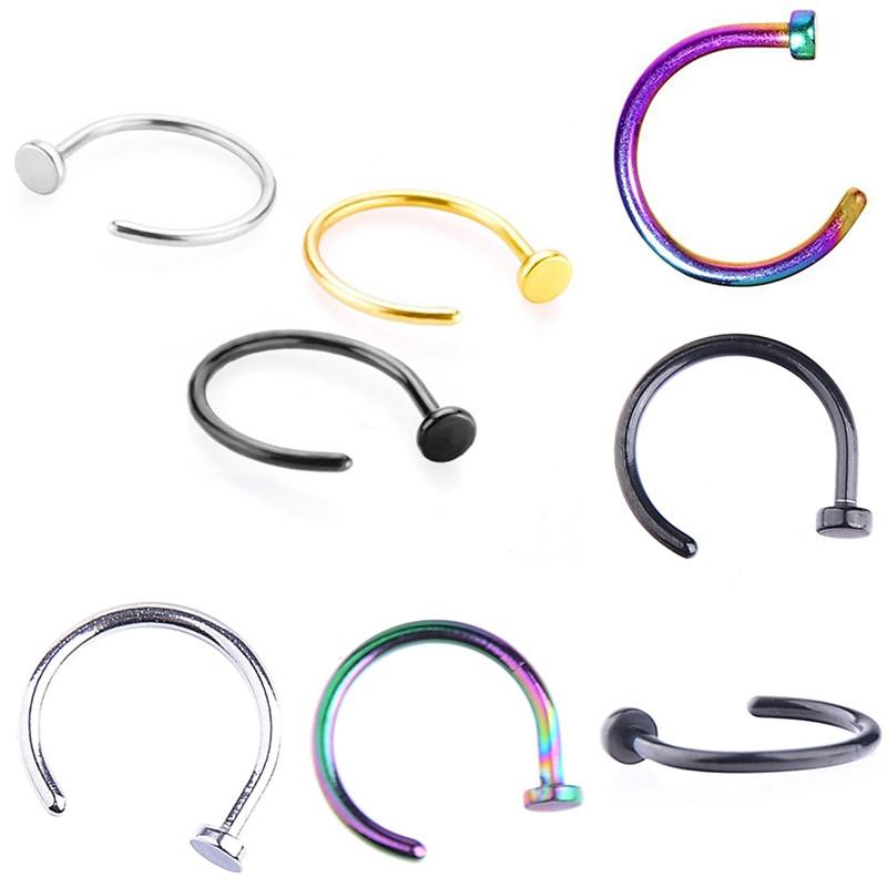 HTB1QE0GQFXXXXXaXXXXq6xXFXXXN Nostril Hoop Stud Ring Clip On Piercing