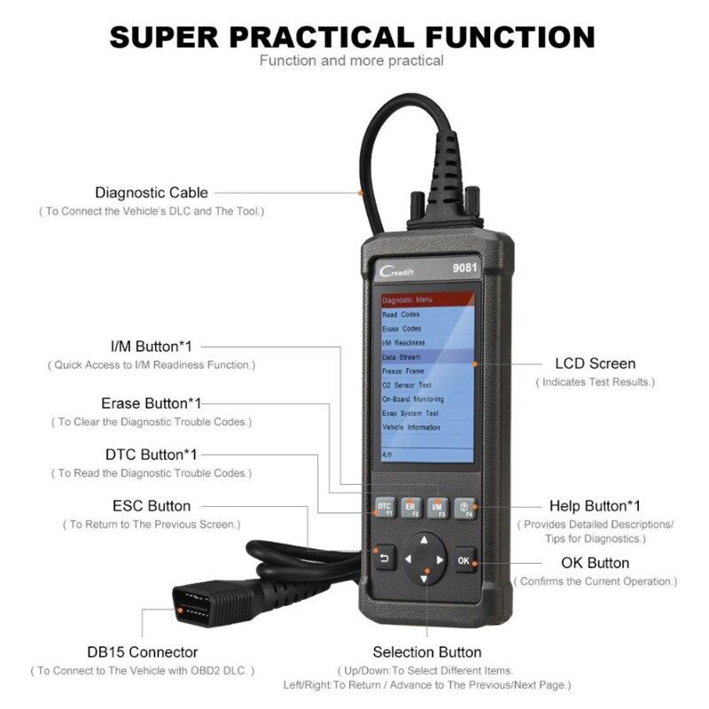 Image 2 - Launch DIY Scanner CReader 9081 Full OBD2 Scanner/Scan Tool Diagnostic OBDII Code Reader+ABS Bleeding+Oil+EPB+BMS+SAS+DPF CR9081