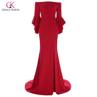 Grace Karin Red Mermaid Evening Dress Three Quarter Ruffle Sleeve High Split Long Special Occaison Dresses