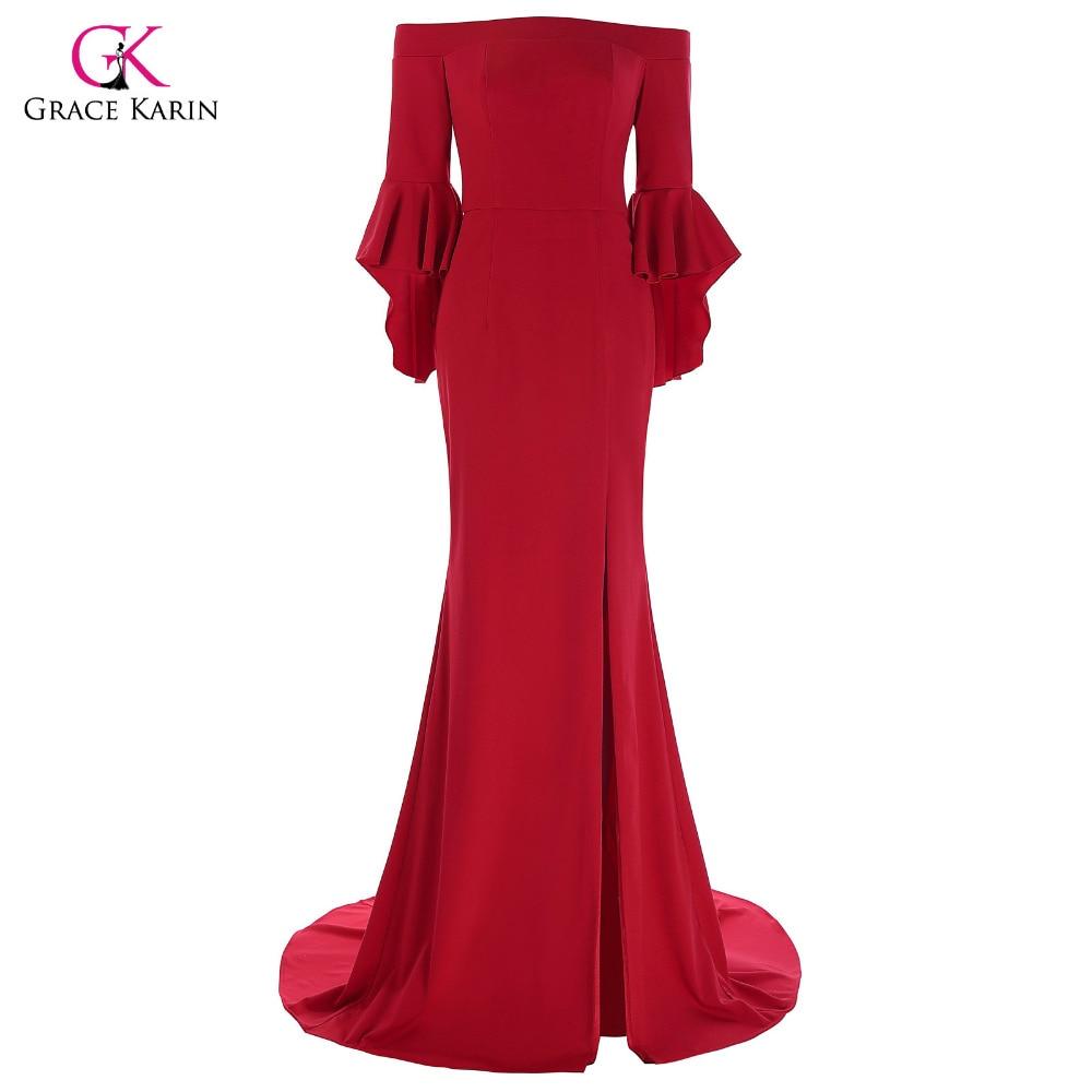 Grace Karin Vestido de noche de sirena roja Manga tres cuartos de - Vestidos para ocasiones especiales
