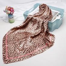 Fashion Leopard Print Scarves For Women Silkl Satin Hijab Scarf Female 90cm*90cm Luxury Square Shawl Head Scarfs Ladies 2019