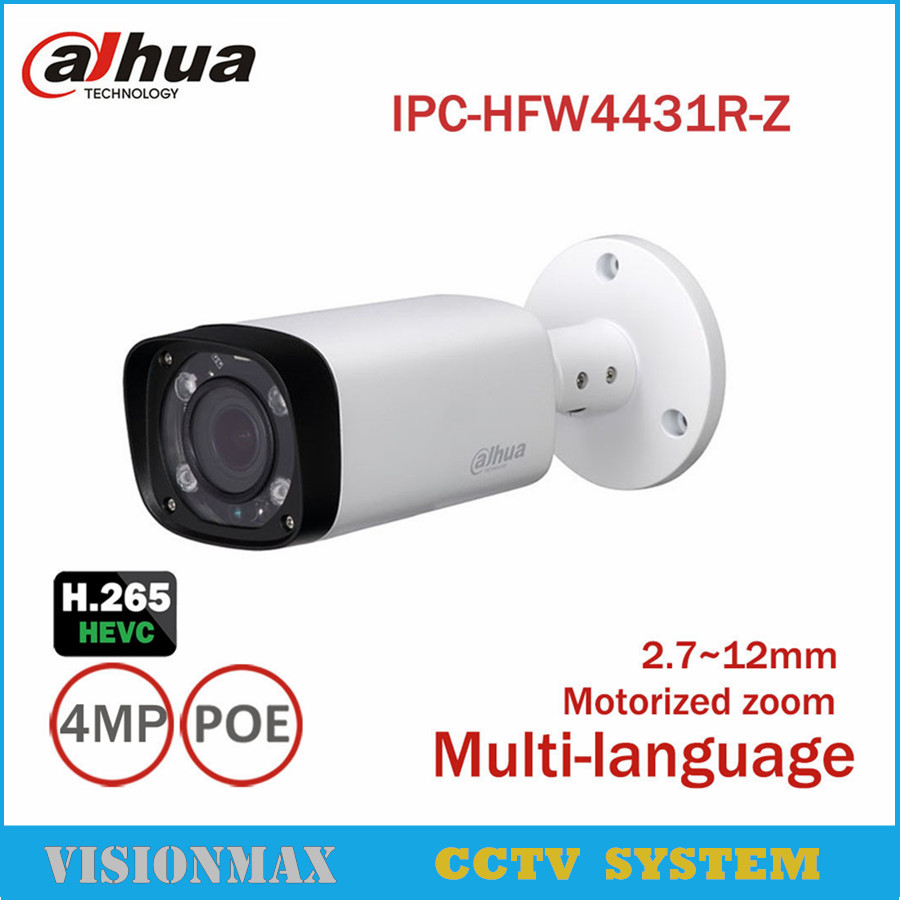 Dahua 4MP CCTV POE IP Camera IPC-HFW4431R-Z IR 80m H.265 2.8mm~12mm varifocal Onvif WDR IP66 Outdoor Night Version Bullet camera ipc 9600 cctv tester ip