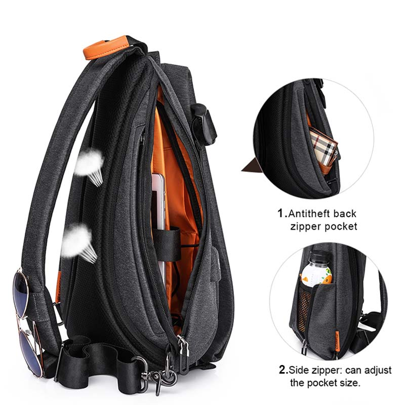 Image 5 - Tangcool Multifunction Fashion Men Crossbody Bags USB Charging Chest Pack Short Trip Messengers Bag Water Repellent Shoulder Bag-in Crossbody Bags from Luggage & Bags
