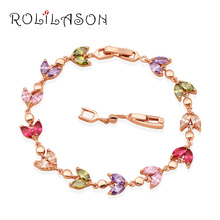 ROLILASON Top selling Color Crystal Gold Tone Luxury Bracelets for Girls Health Zircon Fashion Jewelry TB512