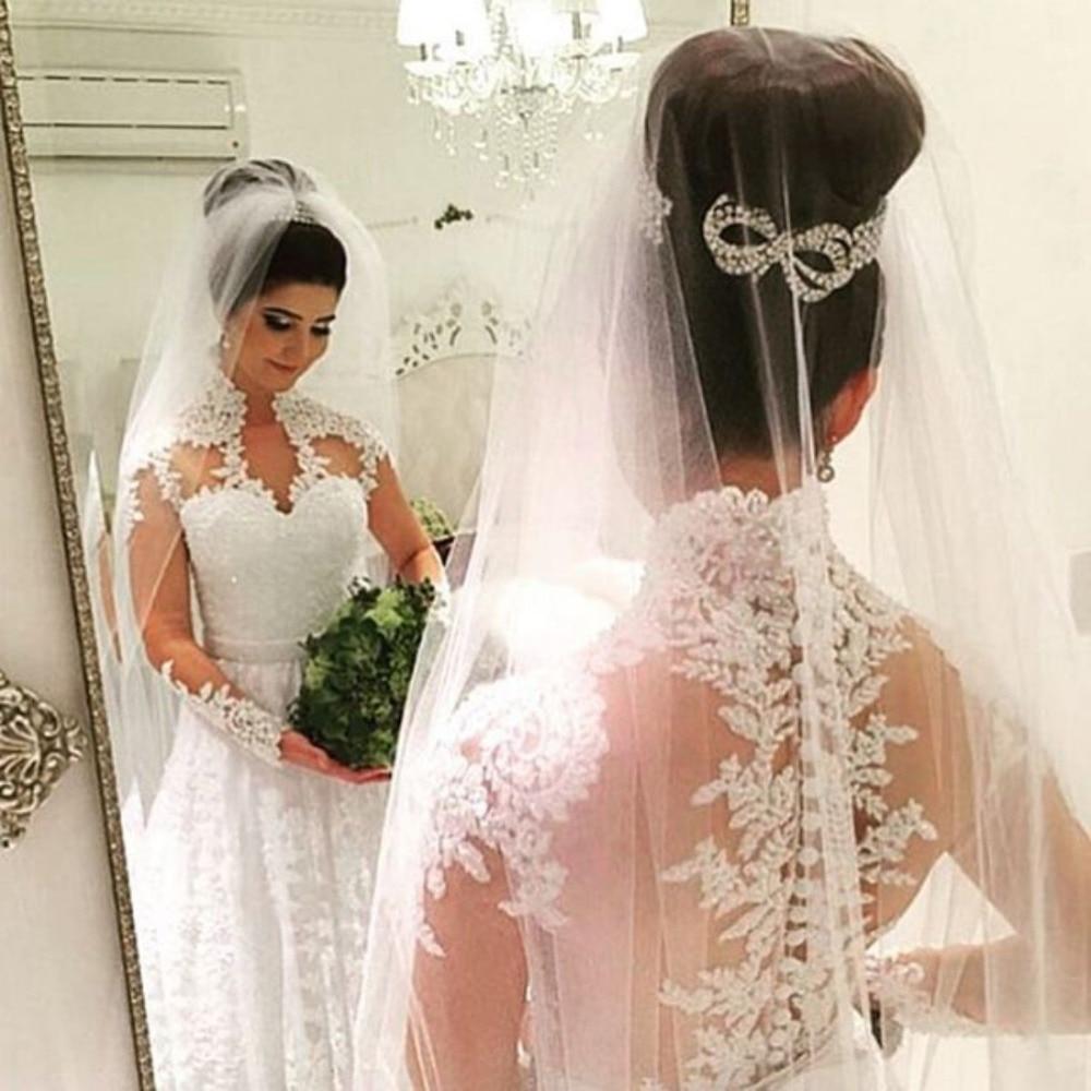 Long Sleeves Vestido De Noiva Muslim Wedding Dresses A-line V-neck Lace Beaded Plus Size Dubai Arabic Wedding Gown Bridal
