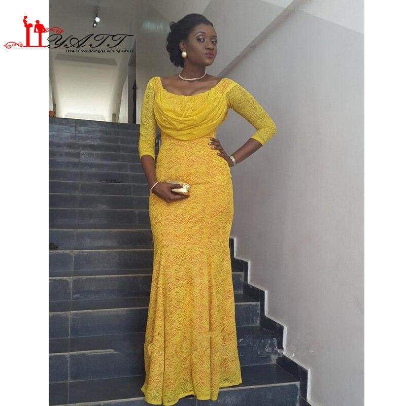 2017 Nigerian Fashion Yellow Lace Prom Dress Scoop Long