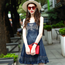 2017 Women Summer Flower Embroidery Blue Lace Patchwork Casual Work Beach Denim Jean Tank Dress 9331