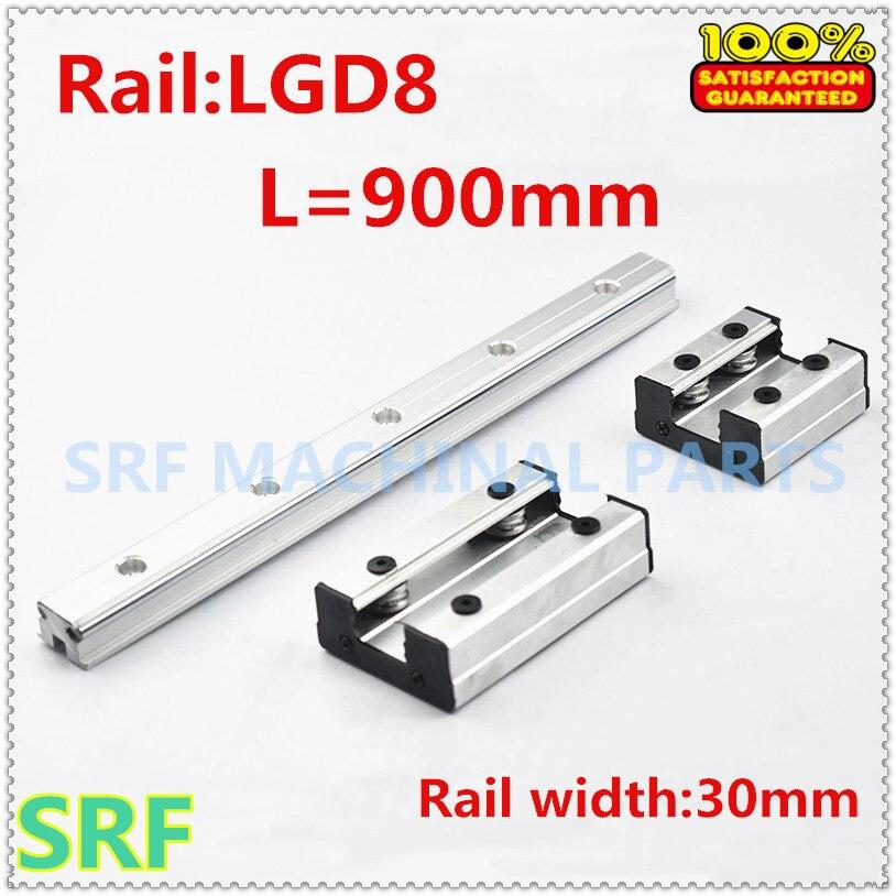 Rail linéaire de rouleau de rail de guidage externe de Double axe de largeur de 30mm 1 pcs LGD8 L = 900mm avec le bloc de glissière de 1 pc 4 roues pour des pièces de CNC