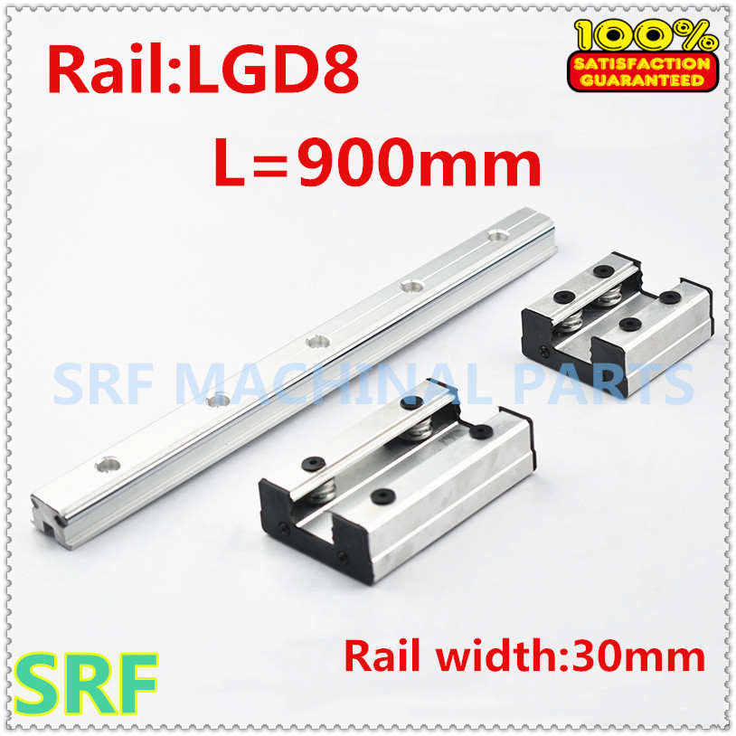 30mm width Double Axis External Guide Rail roller linear rail 1pcs LGD8 L=900mm with 1pc 4 wheels slide block for CNC parts