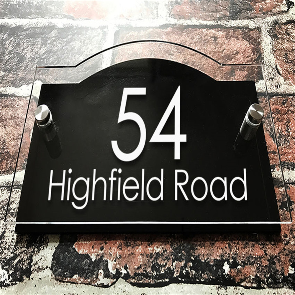 Customized/Personalized Modern Clear Acrylic House Signs Door Plates Plaques with Black Aluminum Plastic Panel modern brushed aluminum install address signs