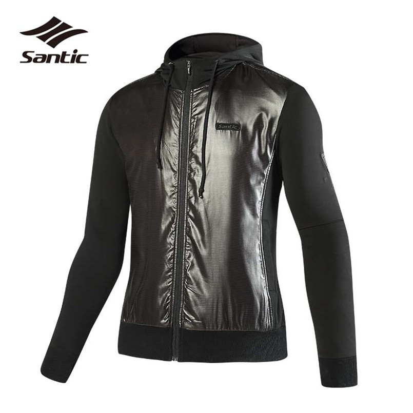 Santic Autumn Winter Cycling Jacket Fleece Thermal Bike Jacket Wind Coat Clothing Windproof Hooded Long Sleeve Bicycle Jacket 2017 santic mens breathable cycling jerseys winter fleece thermal mtb road bike jacket windproof warm quick dry bicycle clothing