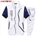 LONMMY M-5XL 2017 Summer Tracksuits Short-Sleeved Suit Shorts Sets Letter Print Fashion Slim Casual Jacket +Pants