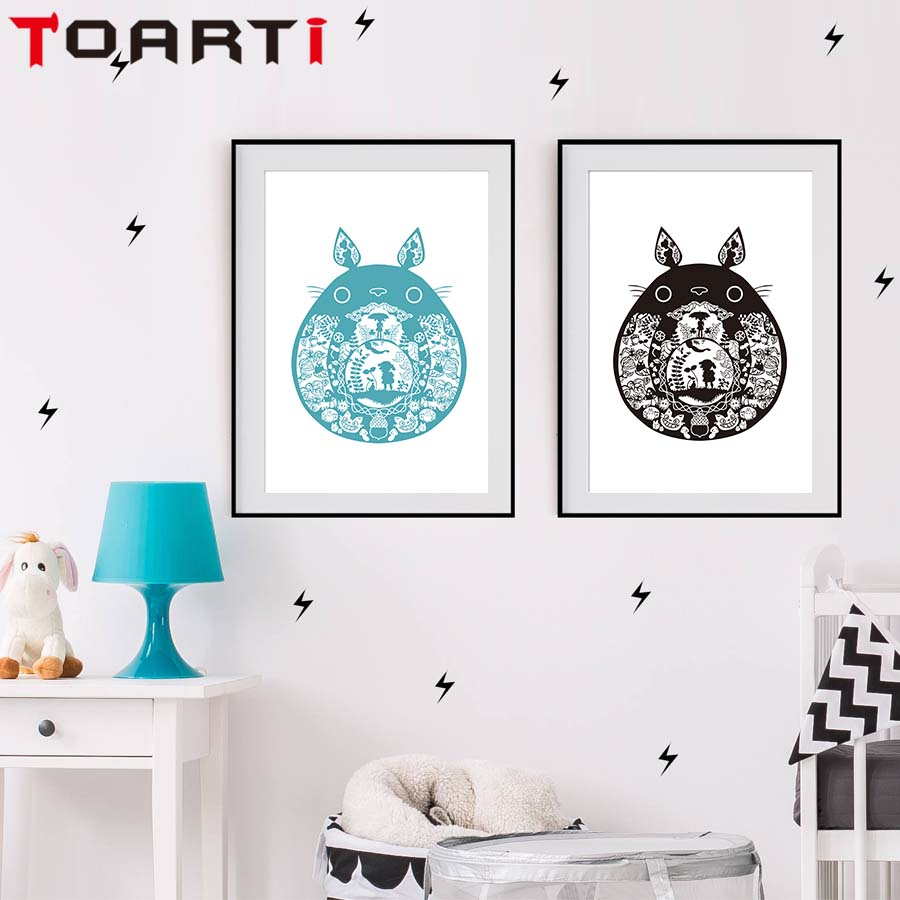 Minimalist Totoro Hayao Miyazaki Japanese Anime Kawaii A4 Canvas Art Painting Poster Wall Pictures For Living Room Home Decor