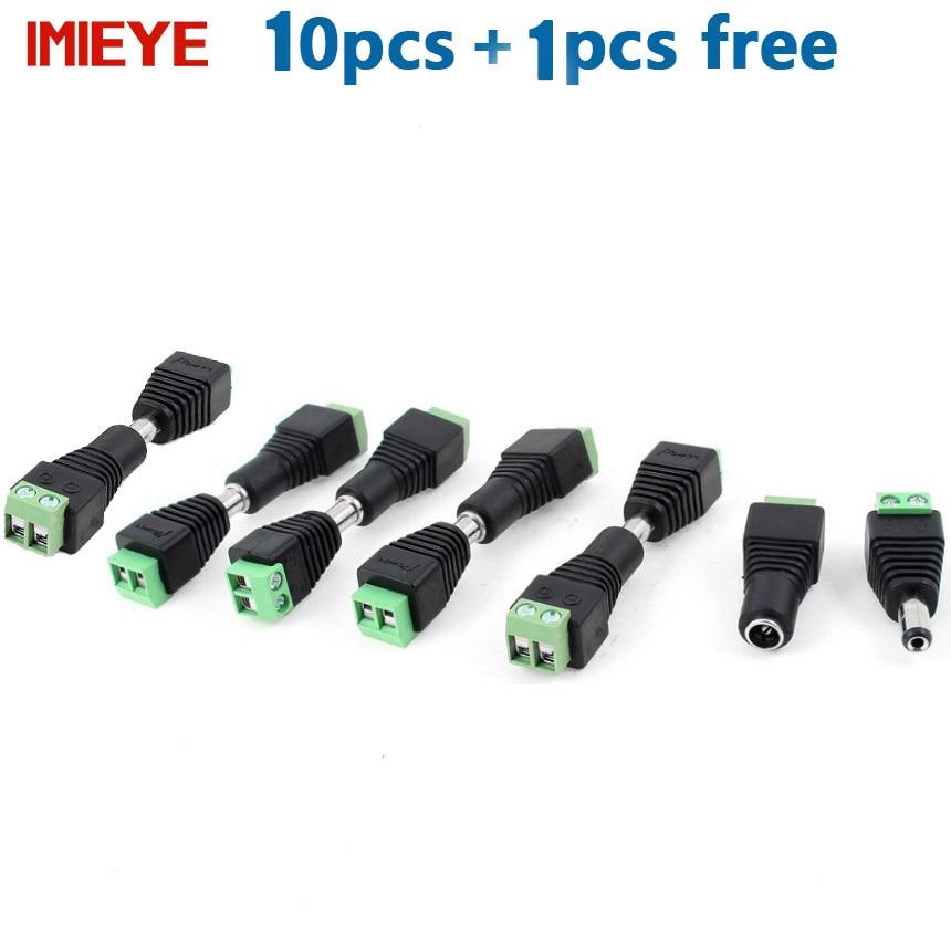 IMIEYE 10 Pcs CCTV Cameras 2 1mm x 5 5mm Female Male DC Power Plug Adapter