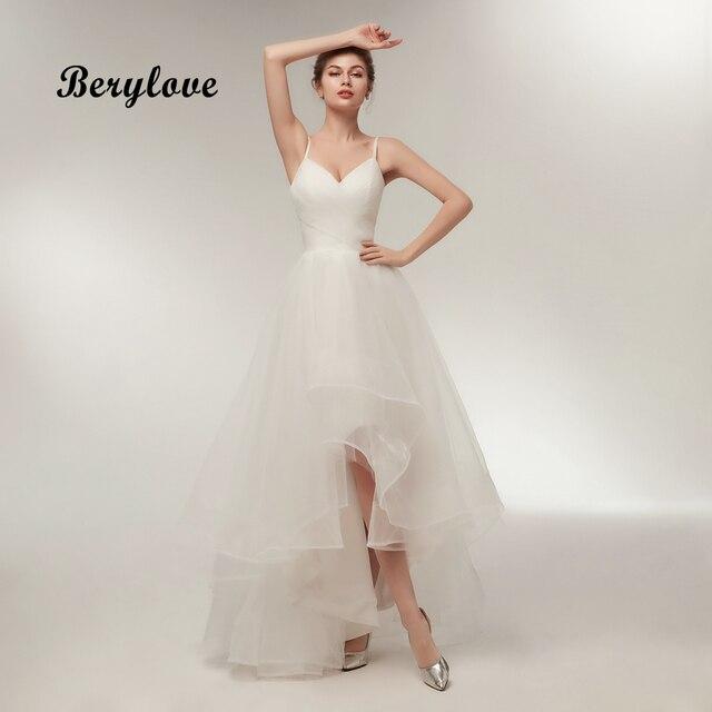 706183308f3 BeryLove Simple Ivory High Low Wedding Dress 2018 V Neck Women Wedding Gowns  Long Cheap Plus Size Wedding Dresses For Wedding