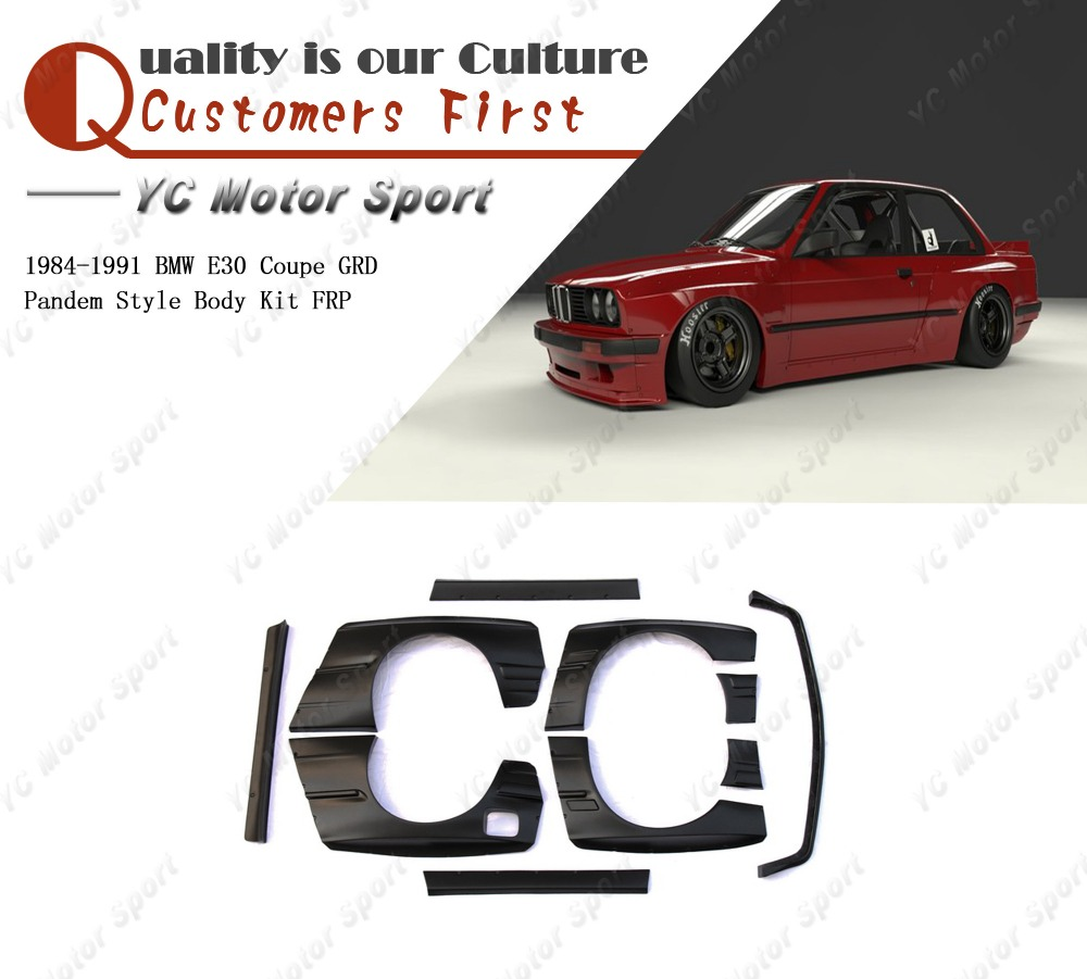 Car Accessories FRP Fiber Glass PD Style Bodykits Fit For 1984-1991 <font><b>E30</b></font> Coupe <font><b>Body</b></font> <font><b>Kit</b></font> Front Lip Fender Side Skirts Spoiler image
