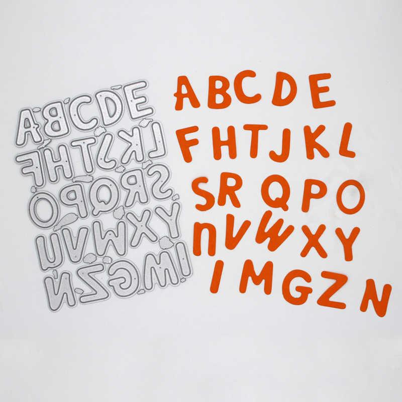 Letras do alfabeto decoração de metal quadros de aço corte dados diy sucata reserva álbum de fotos gravando cartões de papel 11.2*8.5cm