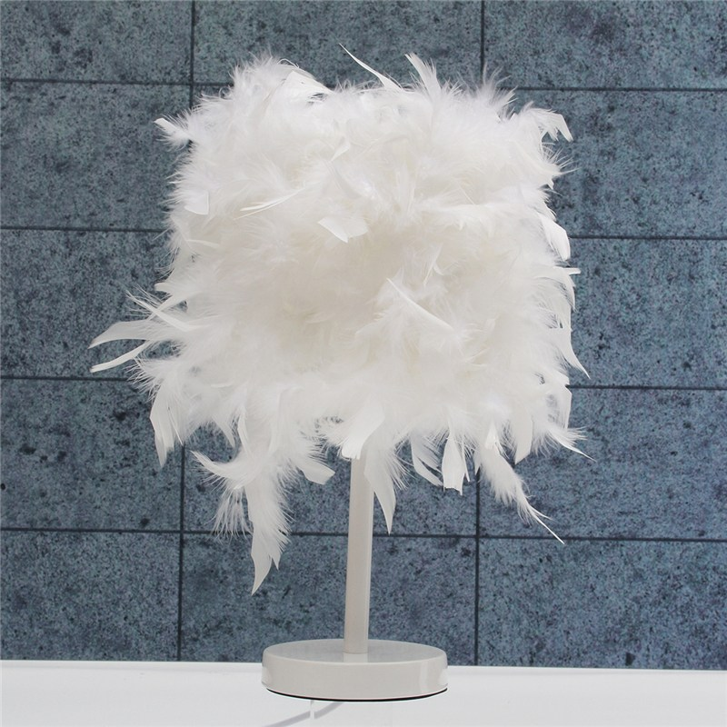 Modern Feather Shade Bulb Reading Table Desk Lamp LED Night Light Button Switch Bedroom Living Room Home Decor Christmas Gift icoco usb rechargeable led magnetic foldable wooden book lamp night light desk lamp for christmas gift home decor s m l size