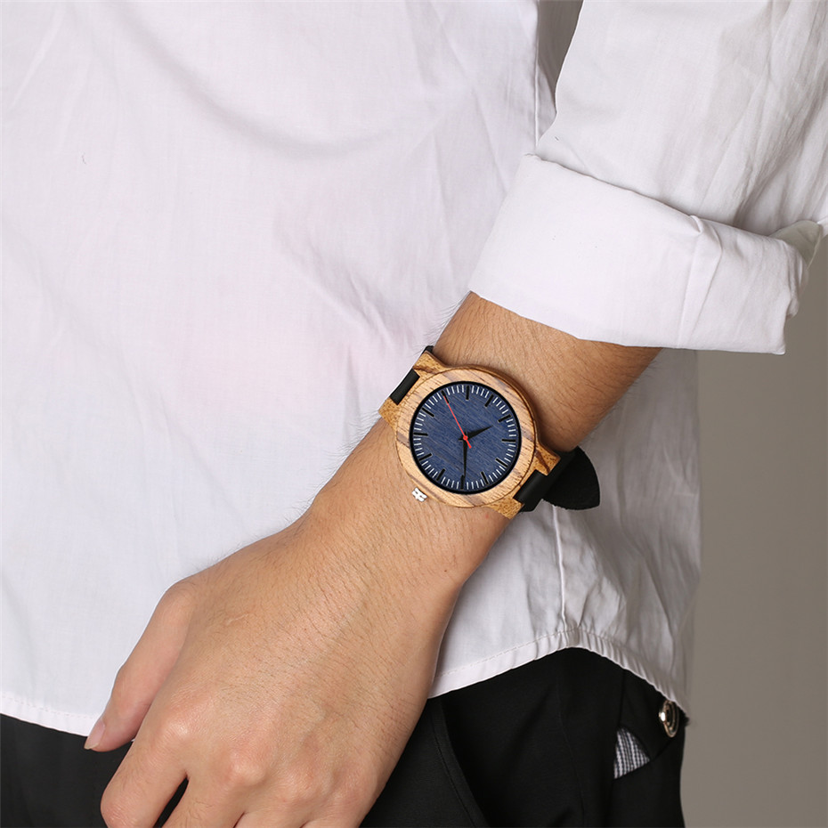 Men Wooden Watch Quartz Genuine Leather Bangle Watch Dark Blue Analog Display Wood Watch For Men Reloj De Madera Fashion Watches