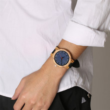 Blue Dial Nature Wood Wrist Watch Men Quartz Clock Creative Men's Watches Genuine Leather Band Wristwatch Man Hour male Gifts