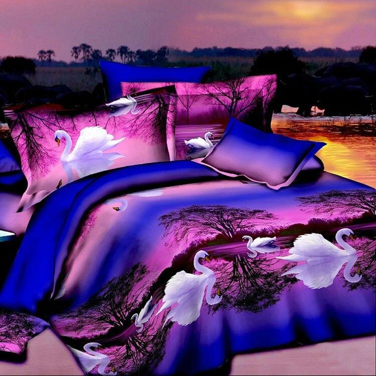 3d white swan cheap cotton 4pc bedding set purple bedspread queen size duvetquilt cover